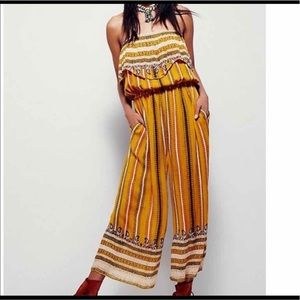 Free People strapless JUMPSUIT in yellow/gold